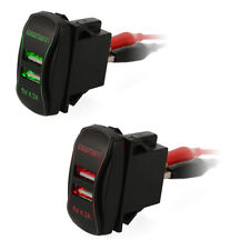 Car Dual USB Port Charger LED Display Switch Panel Socket for Mobilephone Tablet