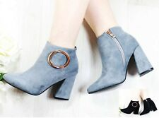 LADIES WOMENS' ANKLE BOOTS CHUNKY BLOCK MID HEEL ZIPPED FAUX SUEDE SHOES SIZE
