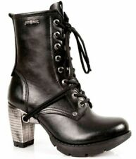 New Rock TR001-S1 Ladies Trail Black 100% Leather Gothic Punk Lace Boots
