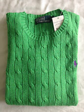 £145 Polo Ralph Lauren 100% Silk Jumper Pullover M New Bright Green Cable Knit