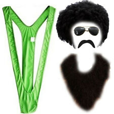 Novelty Green Borat Costume Mankini Wig Moustache Sets For Funny Stag Dos Mens