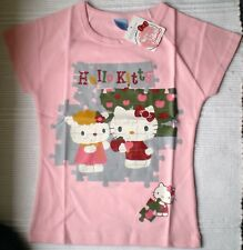 Hello Kitty Sanrio Girls Pink Jigsaw Puzzle T-shirt - BNWT