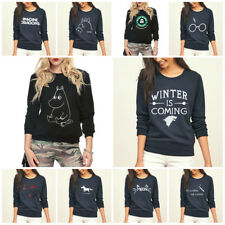 BRAND NEW Autumn Warm Winter Printed Fleece Sweatshirt Ladies Jumper for Women