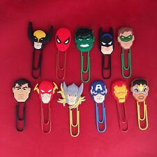 Marvel DC Cartoon Paperclip Bookmark Avengers Hulk Batman Captain America - NEW