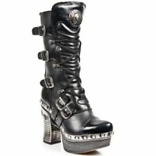NEWROCK New Rock Z006-C5 Black Gothic Ladies Leather Lace Up Wedge Heel Boots