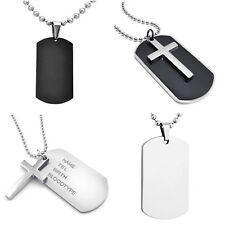 Dog Tags Military Cross Markers Army Style Dog Tag 22 inch Ball Chain Necklace