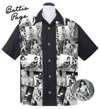 Steady BETTIE PAGE COLLAGE Rockabilly Pin Up Bowling Shirt - US Size XL - 2XL