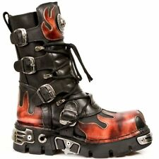 New Rock 591-S1 Red Flame Metal Black Leather Heavy Punk Gothic Boots