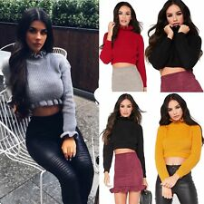 Ladies Wonens Cropped Knitted Round Neck Ruffle Frill Hem Jumper Long Sleeve Top