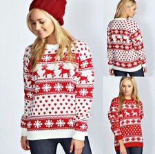 WOMENS CHRISTMAS JUMPER LADIES REINDEER AND SNOWFLAKE KNITTED XMAS JUMPER TOP