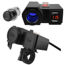 12V/24V Motorcycle Cigarette Lighter Dual USB Power Socket Charger with Switch