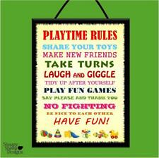 """PLAYTIME RULES*NEW FRIENDS LAUGH & GIGGLE!"" WOOD POSTER PLAQUE/SHABBY CHIC SIGN"
