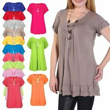 Womens Gypsy Frill Necklace Swing Tunic Tops Ladies V Neck T-Shirt UK Plus Size