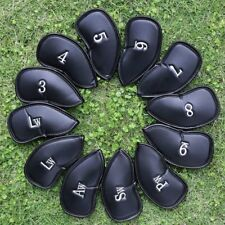 Black Red PU Leather Head Cover Golf Iron Club Putter Headcover 3-SW Set 12pcs