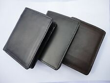 MENS GENUINE LUXURY SOFT LEATHER BIFOLD WALLET CREDIT CARD COIN HOLDER PURSE