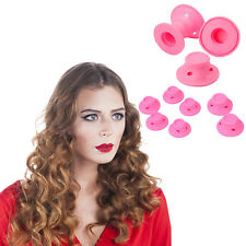 Pink Silicone DIY Hair Curlers Soft Rollers Styling Care Curler Tool No Heat UK