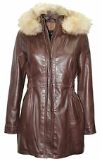 Ladies Brown Knee Length Detachable Fur Hooded Soft Nappa Leather jackets