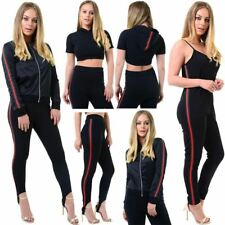 NEW WOMENS NEW RED GREEN STRIPE DETAIL HOODED TOP SKI PANTS JACKET JUMPSUIT