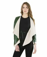 Giacca in pelle donna Monic • colore verde • giacca in pelle nappa effetto lisci