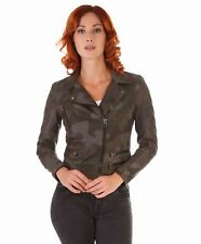 Giacca in pelle donna NADIA • colore militare • Giacca chiodo in pelle trapuntat
