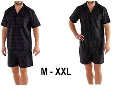 Mens Pyjama Set Shorts Cotton Yarn Dye Elastic Waist Woven 65% Poly 35% Cotton