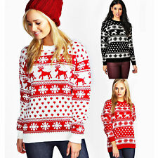 LADIES CHRISTMAS JUMPER WOMENS REINDEER AND SNOWFLAKE KNITTED XMAS JUMPER TOP