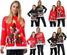 Womens Merry Christmas Printed Ladies Novelty Kids Girls Xmas Knitted Jumper New