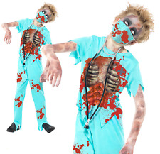 Boys Zombie Surgeon Costume Halloween Fancy Dress Outfit Scary Doctor