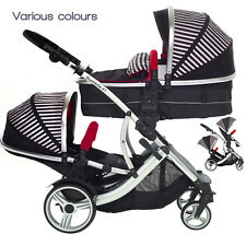 Duellette CBBS Double Twin Tandem Pushchair pram travel system car seat stroller