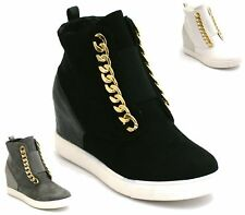 Womens Ladies Mid Heel Wedge High Top Ankle Trainers Slip On Sneakers Boots Size
