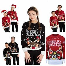 NEW KIDS GIRLS BOYS XMAS JUMPER A VERY MERRY CHRISTMAS TREE 3D BAUBL POM JUMPERS
