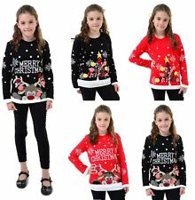 KIDS GIRLS XMAS JUMPER A VERY MERRY CHRISTMAS KIDS TREE 3D BAUBL POM JUMPERS TOP