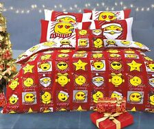 Christmas Xmas Festive Expressions Emoji Red Yellow Duvet Cover Bedding Set