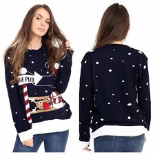 WOMENS XMAS JUMPER LADIES RUDOLPH TO THE PUB KNITTED CHRISTMAS JUMPER XMAS TOP