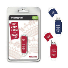 Integral Xpression 8GB USB Memory Stick Flash Pen Drive Keep Calm and Back Up