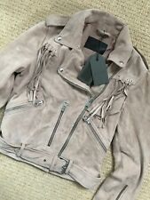 "ALL SAINTS DUSTY PINK ""TASSEL BALFERN"" LEATHER BIKER JACKET UK 8 10 12 NEW TAGS"