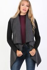 Contrast Long Sleeve Wrap Over Jacket in Charcoal Grey
