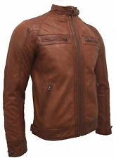 Man SR02  Rustic brown Real Leather Biker Style Retro Jackets