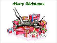 Greyhound Lurcher Whippet Dog Italian Xmas Christmas Cards - Various Pack Sizes