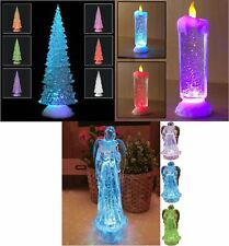 SWIRLING LED COLOUR CHANGING FLAMELESS GLITTER TREE ANGEL CANDLE LIGHT XMAS