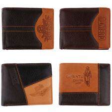 Gents Soft Stitching PU Leather Wallet Money Clip ID Credit Card Cash Holder