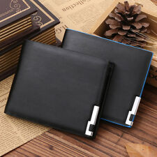 Gents Soft Thin PU Leather Wallet Money Clip ID Credit Card Cash Holder