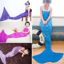 Kids Crochet Mermaid Tail Blanket Children Cocoon Handmade Lapghan Blanket Quilt