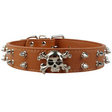 Brown Spiked Studded PU Leather Dog Collars with Skull Cool for Medium Large Dog