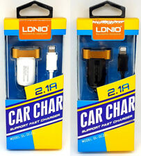 LDNIO 2.1A Lightning Micro Car Fast Cable Charger for Apple iPhones and iPads
