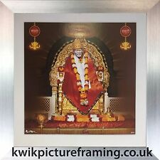 """Sai Baba Of Shirdi India Hindu God Photo Picture Framed in Size 10"""" X 10"""" Inches"""
