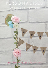 MR AND/& MRS FLORAL, cake topper bunting, ROSES, personalised, wedding, hessian