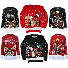 KIDS GIRLS BOYS XMAS JUMPER A VERY MERRY CHRISTMAS TREE 3D BAUBL POM JUMPERS Top