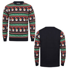 New Mens Xmas Christmas Knitted Santa Pattern Jacquard Novelty Jumper Size S-XXL