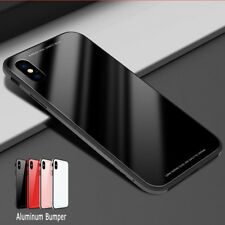 For iPhone X 10 8 Hybrid Ultra-thin Aluminum Bumper Temper Glass Back Cover Case